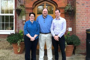 Cornerstone Specialist Nursing Home Dara Ni Ghadhra, Johann van Zyl, Jens Kleyenstuber standing outside Kitnocks House