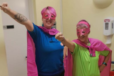 Cornerstone carers dressed as superheroes for pressure ulcer awareness day
