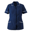 Cornerstone dark blue nursing tunic with white piping clinical manager